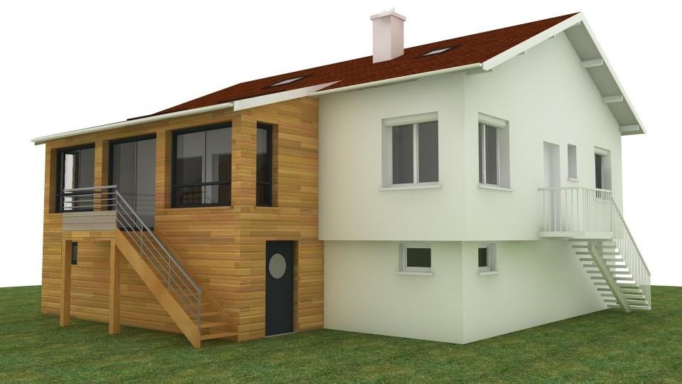 Extension r novation ossature bois bbc chevigny 21 esquisse bois for Construction bois 21